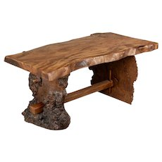 Mid Century Burled Elm Live Edge Coffee Table or Bench