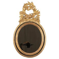 French Oval Gilded Mirror with Louis XVI Style Carved Crest