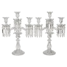 Pair of French Baccarat Crystal Candelabras