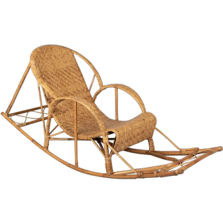 French Rattan Rocking Chaise Lounge Chair