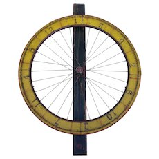 Antique Painted Wood Wire Spoke Gaming Wheel