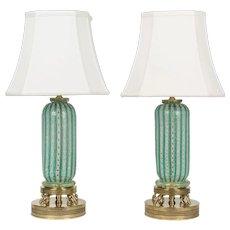 Pair of Murano Latticino Glass Lamps