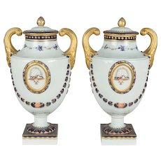 Pair of Mottahedeh Porcelain Urns