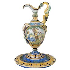 Large French Nevers Faience Ewer & Base