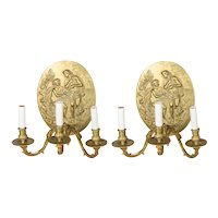 Pair of French Three Arm Cast Brass Sconces