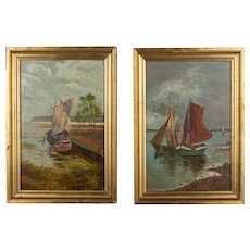 Pair of French Sailboat Paintings