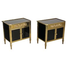 Pair of French Brass and Glass Nightstands