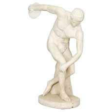French Cast Stone Discus Thrower