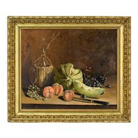 French Still Life Painting by Alexandre Montaulon entitled Le Melon