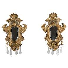 Pair of Louis XIV Style Parcel Gilt Mirror Sconces