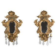 Pair of Louis XIV Style Parcel Gilt Mirror Sconces