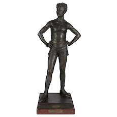 19th c. French Acrobat Sculpture Entitled Le Defi (The Dare) after Eutrope Bouret