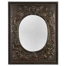 19th c. French Embossed Brass Mirror