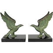 French Art Deco Bronze Falcon Bookends