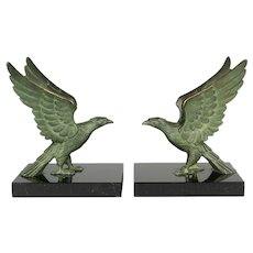 French Art Deco Bronze Falcon Bookends