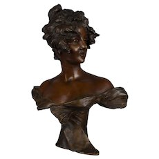 French Art Nouveau Bronze Bust