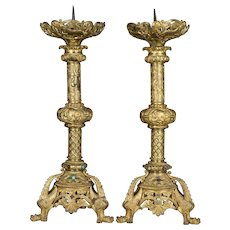 Pair of 19th c. French Bronze Dore Candlesticks