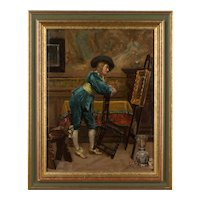 19th c. French Painting of Gentleman in an Artist's Studio