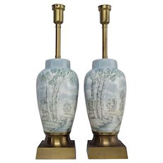 Pair of Italian Porcelain Lamps by Marbro