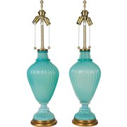 Pair of Seguso Murano Glass Lamps