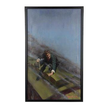 Man on a Speeding Train Oil Painting by Morgan Kane