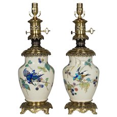 Pair of Bronze Mounted Sevres Ceramic Lamps in the manner of Theodore Deck