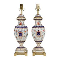 Pair of French Limoges Style Porcelain Lamps