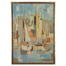 French Mid Century Modern Sailboat Painting