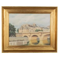 Art Deco Painting of the Pont Neuf Paris
