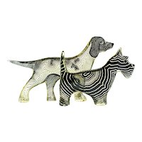 Pair of Palatnik Op Art Lucite Dogs