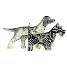 Pair of Palatnik Op Art Lucite Dogs