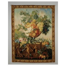 Large French Floral Still Life Tapestry Wall Hanging