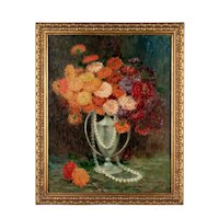 Italian Zinnias Floral Still Life Oil Painting