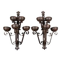Pair of Large Art Deco Wrought Iron Sconces