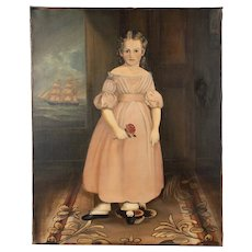 19th Century New England Portrait of Girl with Sailing Ship