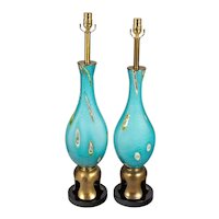 Pair of James Mont Style Murano Glass Lamps