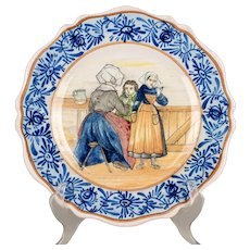 19th Century French Malicorne Faience Plates, a Pair