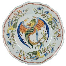 French Desvres Faience Dragon Plate