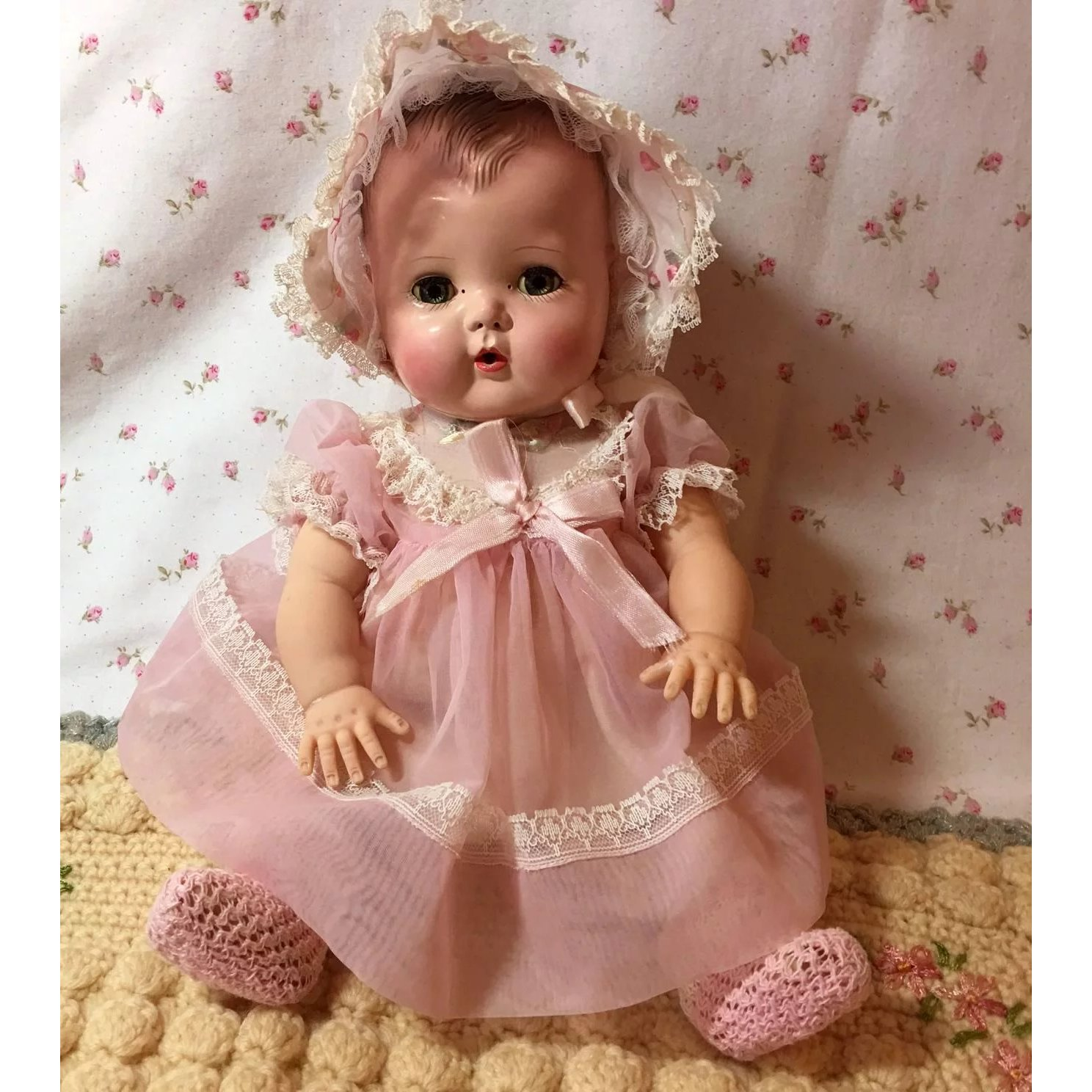 b49efdb1efeb Early 1950 s American Character TINY TEARS Doll w  RARE Layette ...