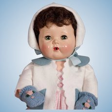 "1956 RARE Brunette 16"" Tiny Tears Baby Doll by American Character"
