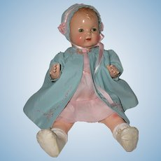 """1925 Effanbee 17"""" Baby Evelyn Composition Doll -- Rare Blond"""