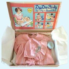 """1930'S EFFANBEE 20"""" DY-DEE Louise Factory Christening Set - Mint in Box"""