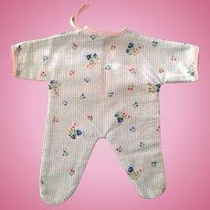 "RARE Factory 11"" Tiny Tears Flannel Pajamas - Flowers & BLUE Gingham"