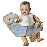 Adorable 1930's Vintage Effanbee Dy-Dee LOU Feeding Set