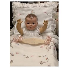 RARE * Antique Turn of the Century Celluloid BUGGY / Pram / Cradle / Blanket Effanbee Dy-Dee Doll Baby Harness Holder