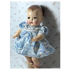 "11.5"" Tiny Tears Blue Cotton Daytime Dress"