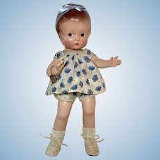"Extremely Rare 1930's Effanbee Pre-Patent 14"" Patsy Doll -- Blue Heart Painted Side-Glancing Eyes"