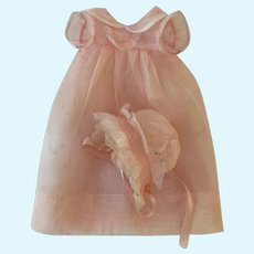 GORGEOUS Effanbee Dy-Dee WEE Factory Layette Pink Organdy Gown, Slip and Bonnet
