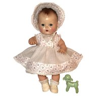 """13.5"""" Tiny Tears / Betsy Betsy White Organdy w/Flowers Dress and Bonnet Set #9"""