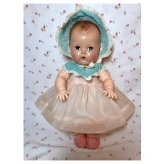 "13.5"" Tiny Tears / Betsy Wetsy Pink/Blue Organdy Dress and Bonnet Set #12"